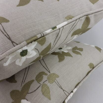 Natural White Trailing Floral Linen Cushions