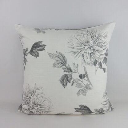 Large Grey Peony Floral Cushion