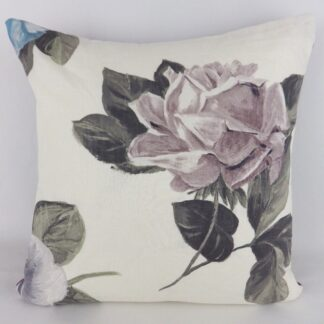 Large Purple Grey Rose Floral Cushion