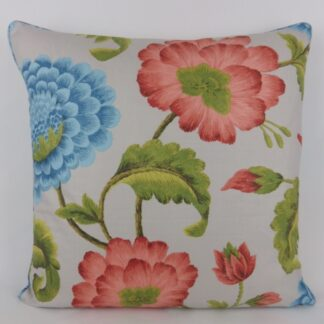Large Red Blue Floral Cushion