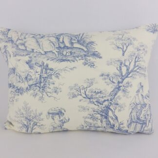 Blue French Toile and Stripe Cushion