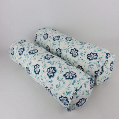 Blue White Trailing Leaf Bolster Cushions