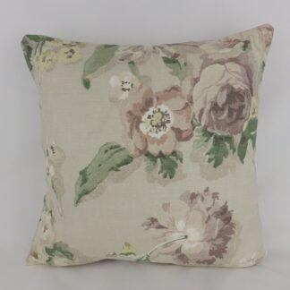 Faded Vintage Cottage Garden Floral Linen Cushion