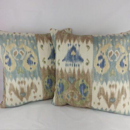 Large Lee Jofa Westmount Wall Ikat Cushions