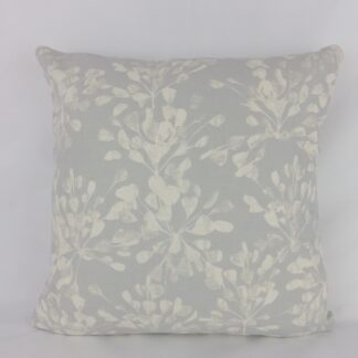 Silver Blue White Abstract Floral Cushion