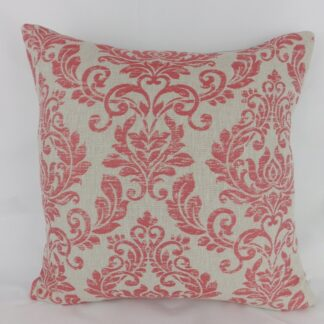 Coral Red Grey Damask Cushions