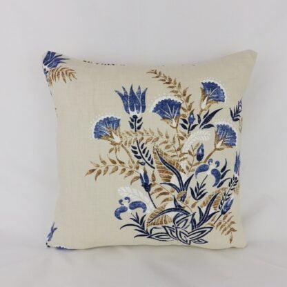 Indigo Blue Cream Floral Cushion Covers