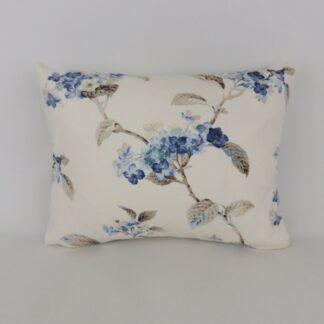 Blue Vintage Hydrangea Floral Cushion