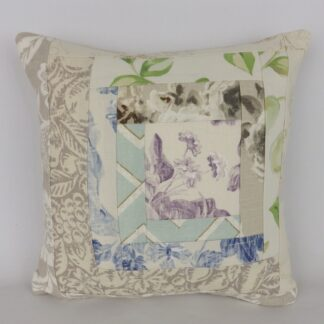 Purple Blue Natural Floral Patchwork Cushion