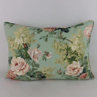 Vintage Green Sanderson Rose Floral Cushion