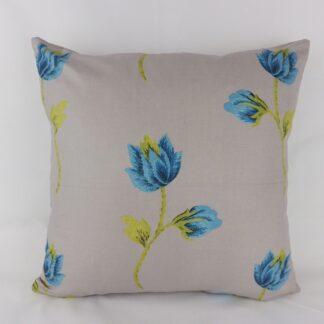 Turquoise Blue Grey Rose Cushion