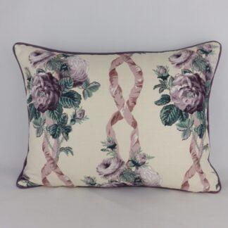 Purple Sanderson Belvedere Vintage Linen Floral Cushion