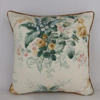 Gold Vintage Sanderson Linen Floral Cushion