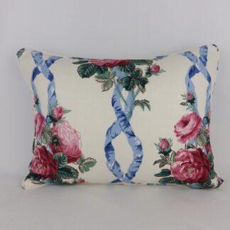 Sanderson Vintage Linen Blue Red Rose Floral Cushion