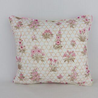 Pink Retro Floral Stripe Cushion
