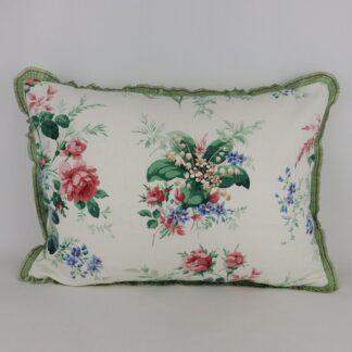 Vintage Green Sanderson Linen Floral Cushion