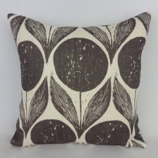 Black Sanderson Wood Block Flower Cushion