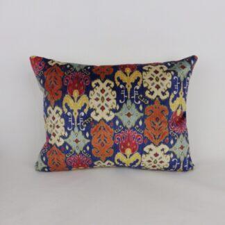 Blue Designer Ikat Printed Velvet Lumbar Cushions