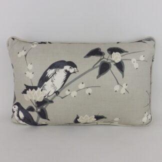 Grey Black Bird Lumbar Cushion