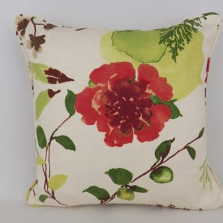Red Orange Lime Green Floral Cushion