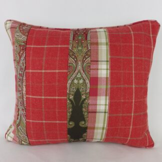 Red Check Paisley Patchwork Cushion