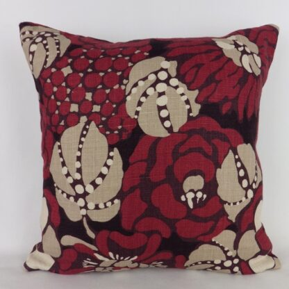 Red Puce Designer Abstract Floral Cushion