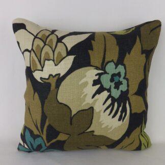 Black Nina Campbell Chardon Linen Cushion