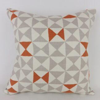 Orange Grey Geometric Triangle Pattern Cushion