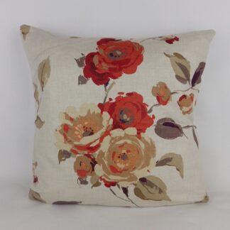 Red Orange Natural Linen Rose Floral Cushion