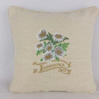 Daisy Embroidered Linen Cushion