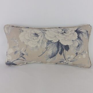 Blue Grey Vintage Floral Bolster Cushion