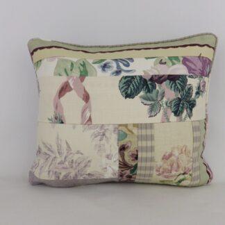 Purple Vintage Floral Patchwork Cushion