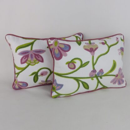 Pair Crewel Work Embroidered Floral Cushions