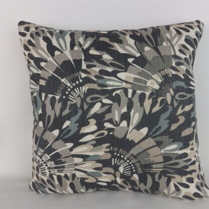 Charcoal Grey Abstract Feather Linen Cushion