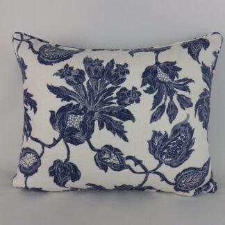 Helena Thibaut Dark Blue Floral Linen Velvet Cushion